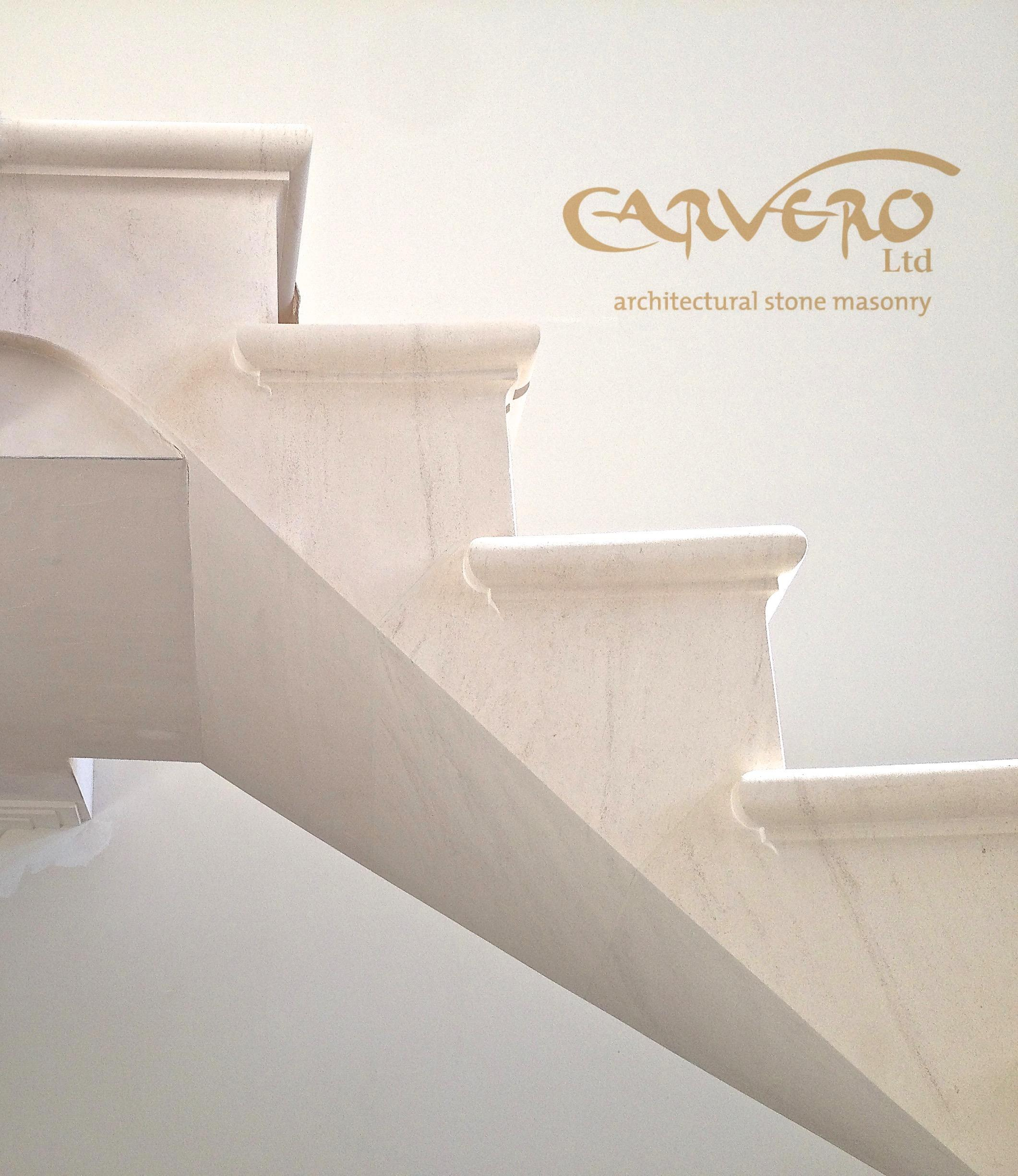 Floating stone staircase - post tensioned stone staircase