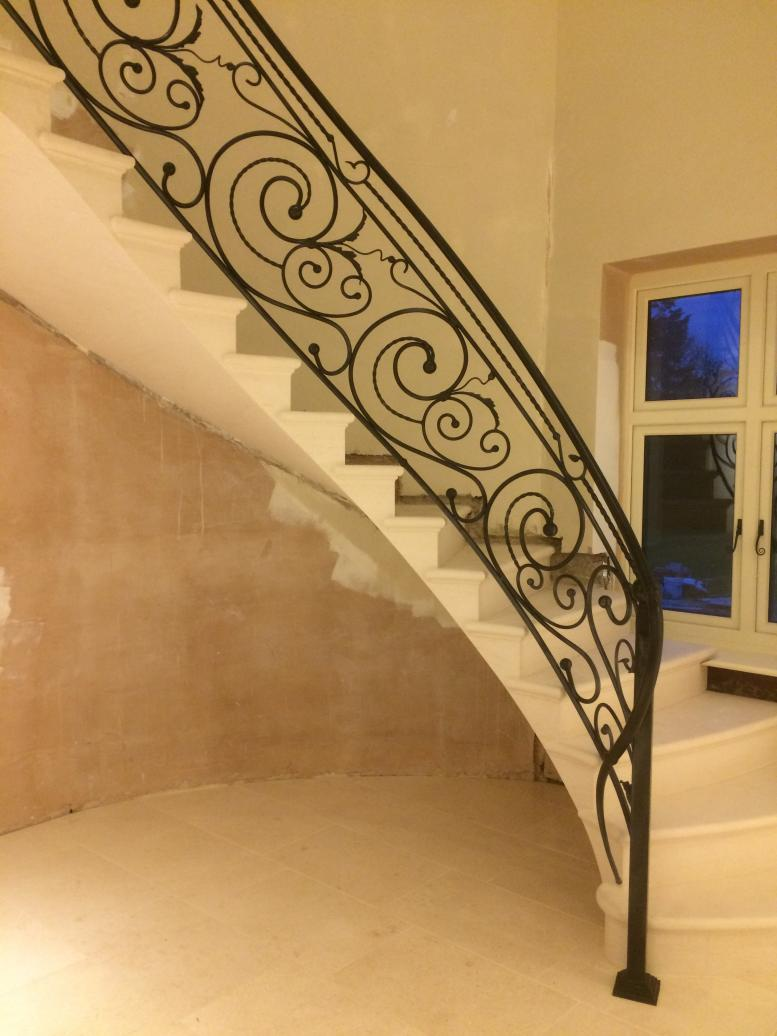 cantilevered stone staircase