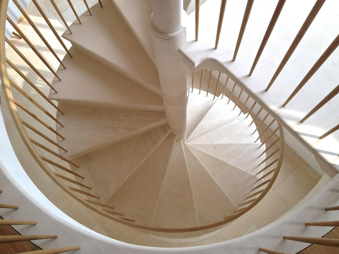 top view of the spiral stone stair