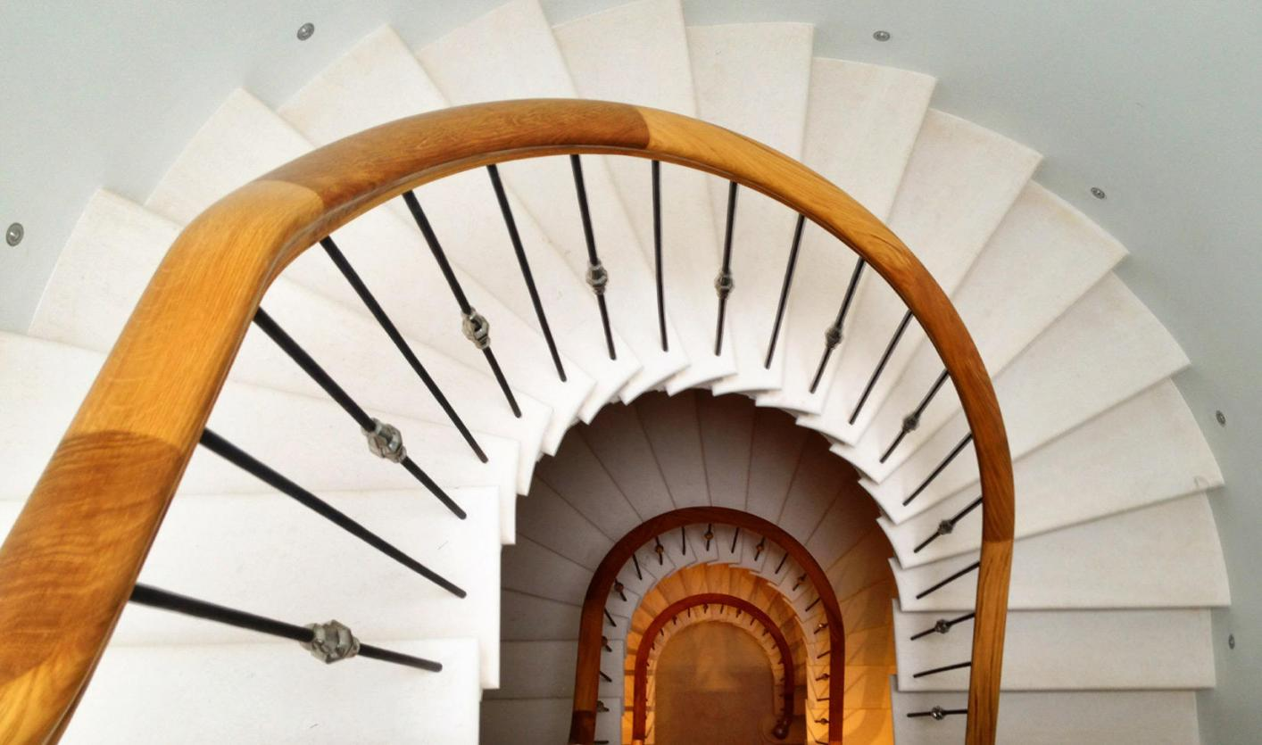stone stairs London, a cantilevered stone staircase