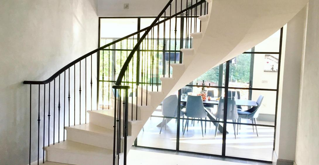 Floating stairs, stone stairs, post tensioned staircase
