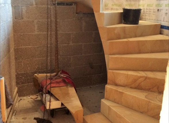 fitting of the sandstone staircase