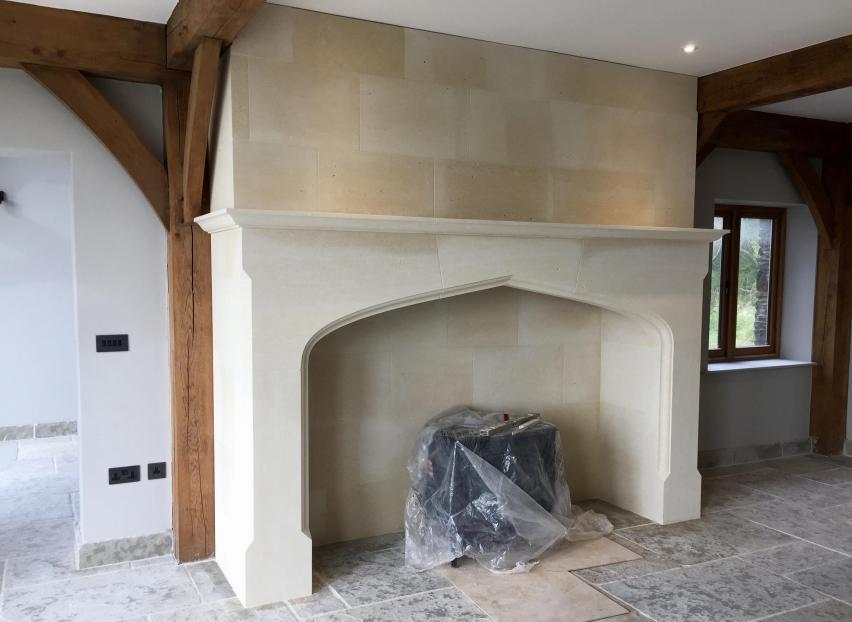 extra large Cromwell limestone fireplace - Isle of Man