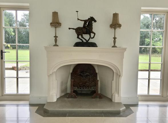 Limestone, hand carved, Fireplace